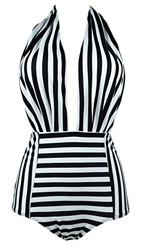 COCOSHIP Black & White Striped Retro One Piece Backless Bather Swimsuit High Waisted Pin Up Swimwear Monokini (Striped Womens Swimsuit)