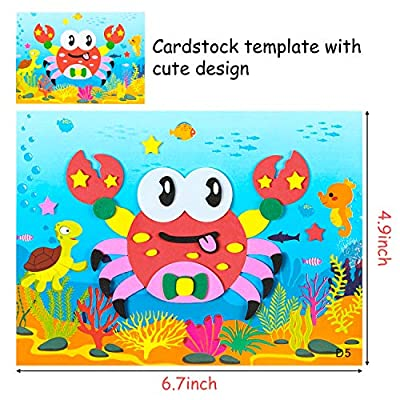 MALLMALL6 20Pcs Mosaic Sticker Art Kits for Kids DIY Mosaic Art Crafts Foam Stickers 3D Puzzle Drawing Sticker Craft Activities Early Learning Games Handmade Art Kit for Preschool Toddlers Boys Girls: Arts, Crafts & Sewing