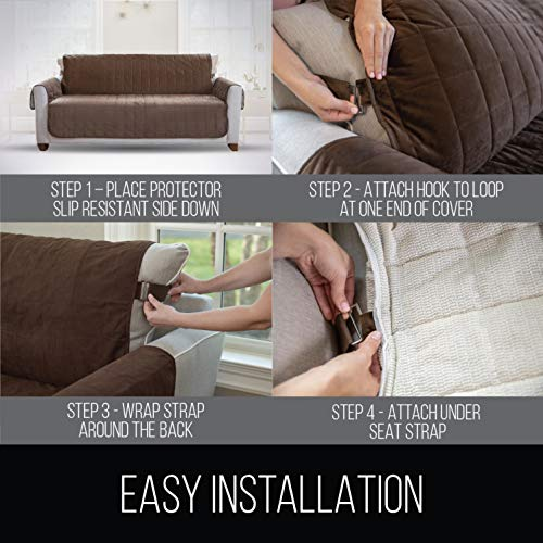 """Gorilla Slip Sofa Protector, Seat Width Up Patent Pending, 2"""" Straps/Hook, Couch Furniture for Dogs"""