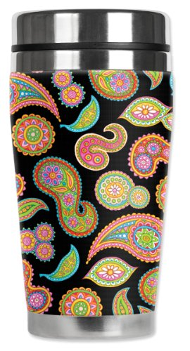 Mugzie Rainbow Paisley Travel Mug with Insulated Wetsuit Cov