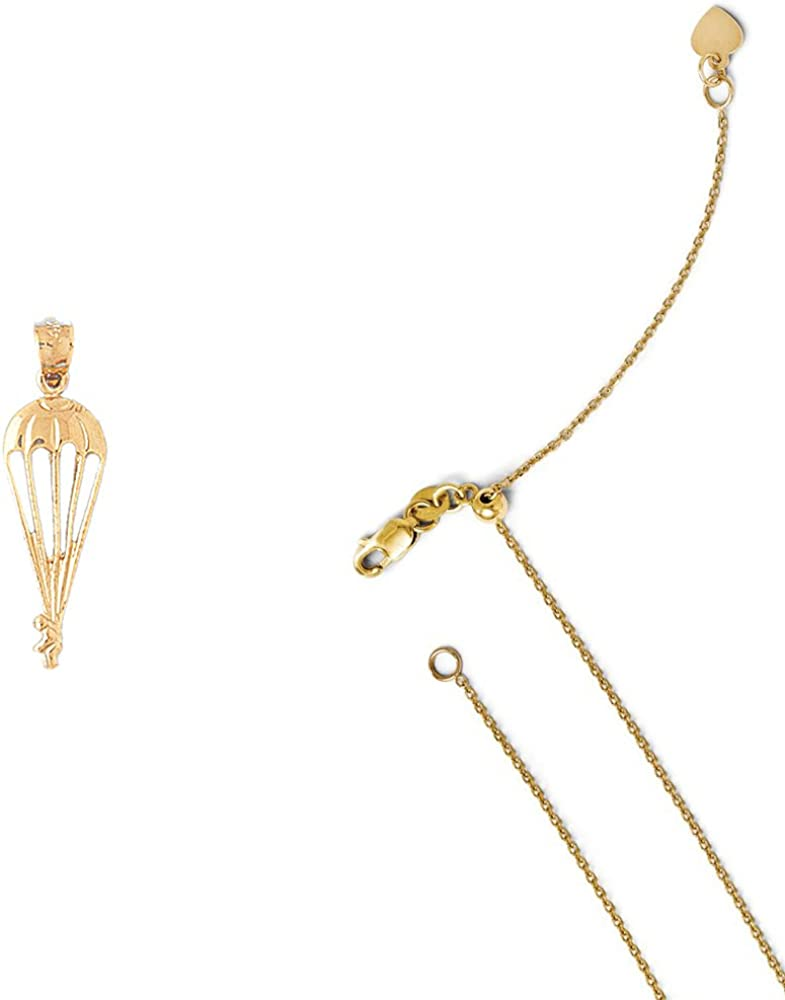 14K Yellow Gold Parachuter Pendant on an Adjustable 14K Yellow Gold Chain Necklace