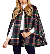 GAMISOTE Womens Capes Plaid Open Front Split Sleeve Hooded Poncho Cloak Jacket Outwear