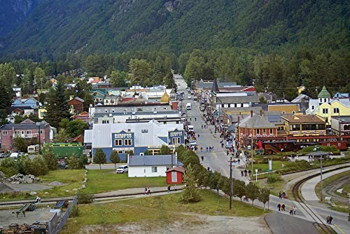 Home Comforts Canvas Print Tourism Buildings Alaska Village Skagway Town Vivid Imagery Stretched Canvas 32 x -
