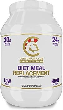 Centurion Club Nutrition Diet Batido de Reemplazo de Comidas, Fórmula de Proteína de Suero de Leche y de Alto Contenido de Fibra Con Sólo 24g de ...