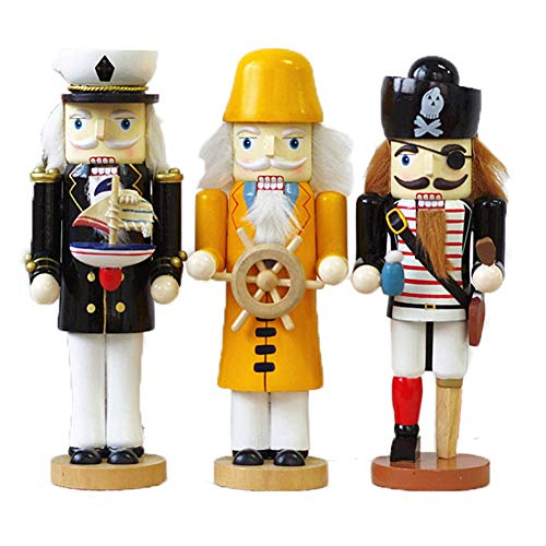 - Microheal 10 inches Collectible Nutcracker Cop Pirate Sailor Wood Figurine for Home Themed Party D¨¦cor Set of 3