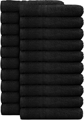 Utopia Towels Cotton Bleach Proof Salon Towels (24-Pack, Black,16 x 27 inches) - Bleach Safe Gym Hand Towel by Utopia Towels (Image #4)