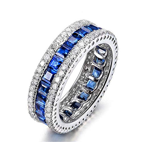 MoAndy Wedding Rings for Women Sterling Silver Jewelry Square Blue Sapphire Channel Design Size - Sapphire Marquis Blue