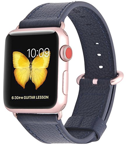(PEAK ZHANG Compatible with Apple Watch Band 38mm/40mm 42mm/44mm Women Leather Replacement Strap with Rose Adapter and Buckle for iWatch Series 4,3,2,1 (Midnight Blue, 38mm/40mm S/M))