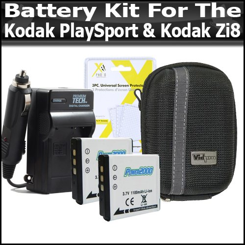 (Battery Kit For Kodak PlaySport (Zx3) Kodak Zi8, PlayFull Dual (Zi12) Pocket Video Camera NEWEST MODEL Includes 2 Extended Replacement KLIC-7004 (1100 mAH) Battery + Ac/Dc Rapid Travel Battery Charger + Deluxe Hard Case + LCD Clear Screen Protectors)