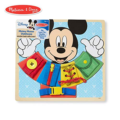 Melissa & Doug Mickey Mouse Wooden Basic Skills Board - Zip, Lace, Tie, Buckle, Button, and Snap]()