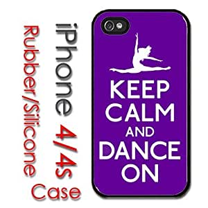 iPhone 4 4S Rubber Silicone Case - Keep Calm and Dance Purple Ballet