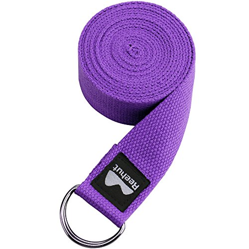 REEHUT Yoga Strap 8ft with Ebook - Durable Polyester Cotton Exercise Straps w/Adjustable D-Ring Buckle for Stretching, General Fitness, Flexibility and Physical Therapy Purple