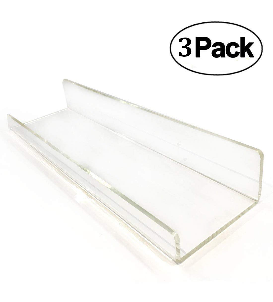 2 Clear Floating Shelves - Acrylic Bathroom Shelf Set, Corner Shower Caddy, Nail Polish Organizer Cosmetics Makeup or Spice Rack, Kids Room Non Wooden Wall Decor Hanging Bookshelf Display EXTRA STRONG BlingSoul JBS-2ACRLC15X2