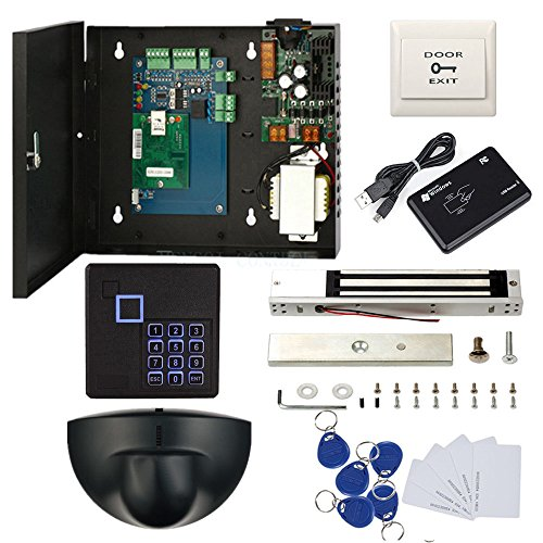 IP Security Door Access Control for Single Door with 600lbs Electric Magnetic Lock Exit Motion Sensor 110V Power Box Keypad Reader