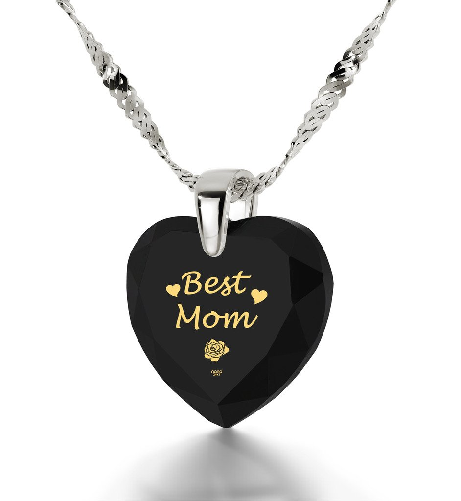 925 Silver Best Mom Necklace - Heart Pendant Inscribed in 24k Gold on Black Cubic Zirconia