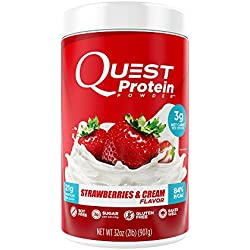 Quest Nutrition Protein Powder, Strawberries & Cream, 21g Protein, 3g Net Carbs, 84% P/Cals, 2lb Tub, High Protein, Low Carb, Gluten Free, Soy Free