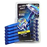Ultra Max Razor Twin Blade 6PK Blue , Case of 48