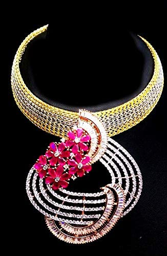 Gift for her Wedding Gift Stunning Neck Piece for Women for Parties Gaurik Designer Pink Color Bridal Designer Bridal Necklace Set