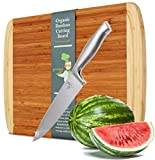 Greener Chef Knife & Bamboo Cutting Board Value Gift Set - Best Housewarming Gift & Wedding Gifts for Couple - 8 Inch Stainless Steel - Extra Large Organic Wood Cutting Boards for Kitchen - 17''x12.5''