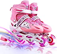 Adjustable Rollerblades, Roller Skates with Flashing Light up Wheels for Boys and Girls, Safe and Durable Chil
