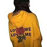 Han Shi Blouse, Love Rose Print Hoodies for Womens Letter Printing Hooded Sweatshirts (M, Yellow)