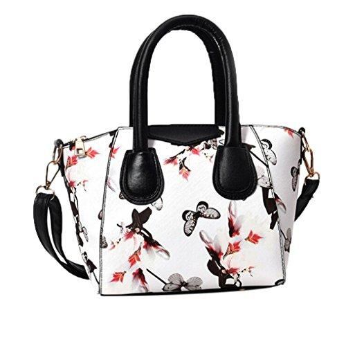 LHWY Bolso De La Mujer PequeñA Bolsa De Flores Mariposa Impresa Bandolera Blanco