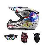 MRXUE Off-Road Anti-Collision Motorbike Helmet Warm, Full Face Helmet Off-Road Anti-Collision Helmet Kit Adult Highway Helmet Give Goggles Bicycle Gloves Dust Mask,L(57~58Cm)
