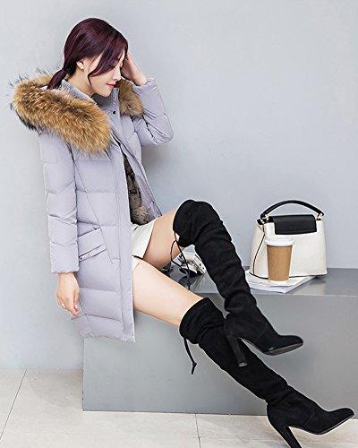 Invierno de Acolchado Abajo Larga Cihui Capucha Abrigo de Espesan Mujer Abrigo Gris Chaqueta Manga x7BBqnw8t5