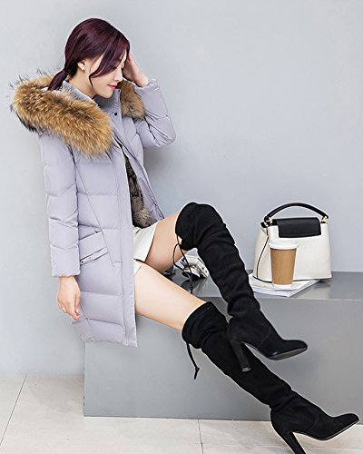 Packable Weight Down Cihui Women's Light Outdoor Jacket Coat Ultra Long Middle Grey Hooded XwpxxqE