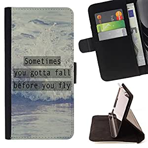 Dragon Case- Caja de la carpeta del caso en folio de cuero del tir¨®n de la cubierta protectora Shell FOR Samsung Galaxy Note 4 SM-N910 N910 IV- Sometime you gotta fall before you fly
