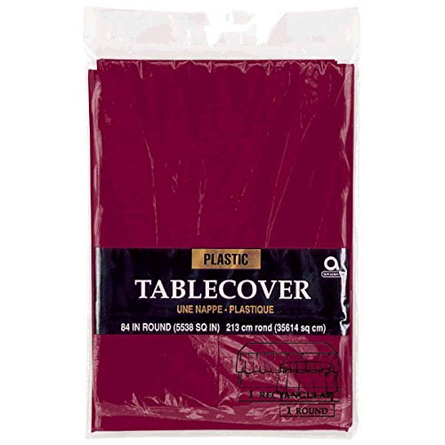 Amscan Round Plastic Table Cover | Berry Red | 84'' | Party Supply | 12 ct.