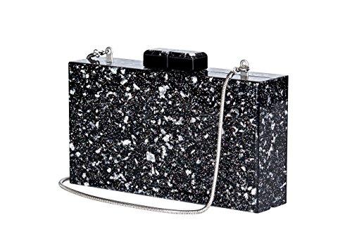 Shiny Acrylic Clutch Black Sequin Purse Perspex Bag Handbags for Women Party