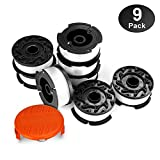 Eventronic Line String Trimmer Replacement Spool, 30ft 0.065'' Autofeed Replacement Spools for BLACK+DECKER String Trimmers, 9 Pack (8 Replacement Spool, 1 Trimmer Cap)