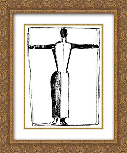 - Kazimir Malevich 2X Matted 20x24 Gold Ornate Framed Art Print 'Figure in The Form of a Cross with Raised Hands'