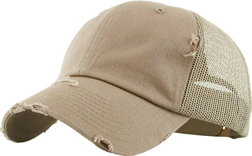 - H-6140-K13 Distressed Trucker Dad Hat - Khaki
