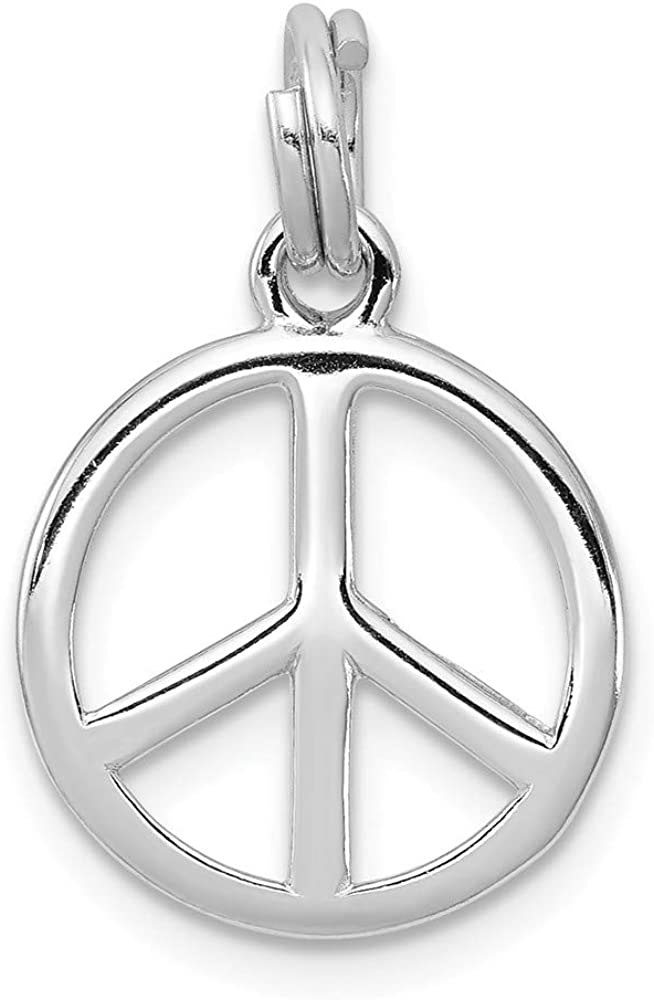 16mm Height x 14mm Width Solid 925 Sterling Silver Pendant Polished Peace Sign Sign Charm