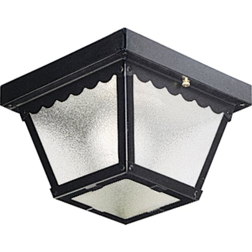 Progress Lighting P5727-31 Metal Ceiling Light with Textured Glass, Black
