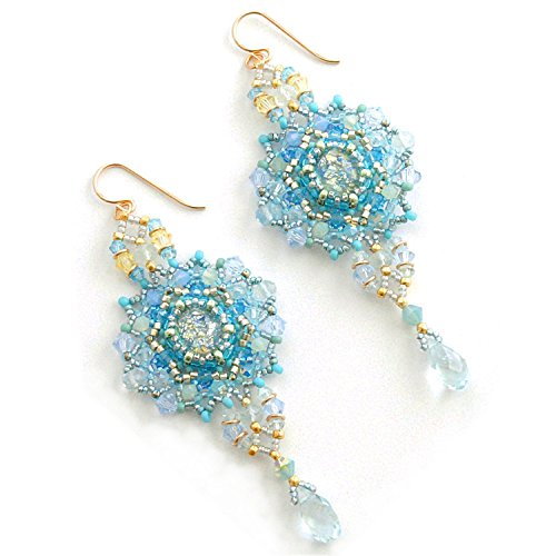 Big Gemstone Earrings with Natural Aquamarine and Swarovski Crystal Handcrafted in 14K Gold Filled