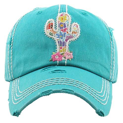H-212-CACTUS46 Distressed Baseball Cap Vintage Dad Hat - Cactus (Teal)
