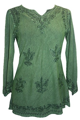 Agan Traders 127 B Medieval Vintage Top Blouse (Medium, E Green)]()