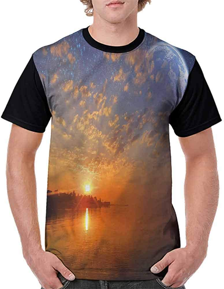 Vintage T-Shirt,Outer Space Elements Fashion Personality Customization