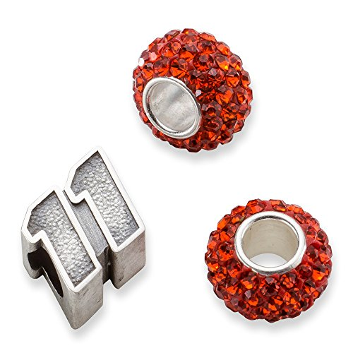Sterling Silver TWO ORANGE CRYSTAL BEADS W/ 11 BEAD by Security Jewelers