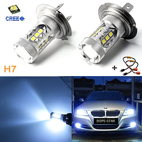 (Xotic Tech Ice Blue 80W Error Free H7 LED Kit with Decoder for BMW E46 3 DRL Daytime Running Light)