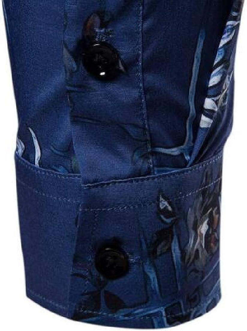YYG Mens Printed Formal Lapel Slim Long Sleeve Button Up Dress Work Shirt