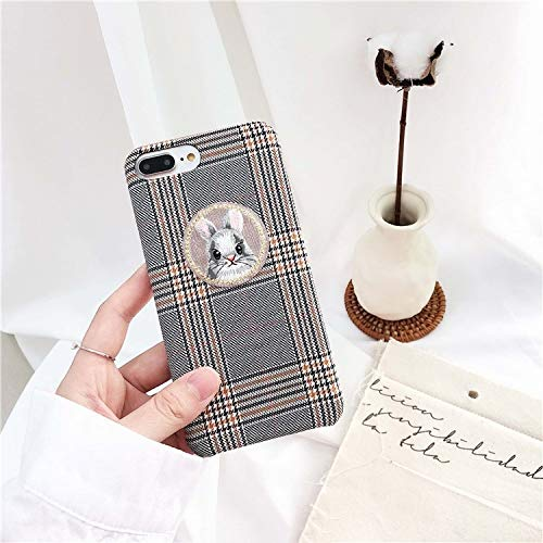 - Twinlight Luxury Embroidery Cat Rabbit Plush Phone Case Warm Plaid Fabric Case for iPhone 7 8 Plus X XS Soft TPU Case Cover (Rabbit, for iPhone X XS)