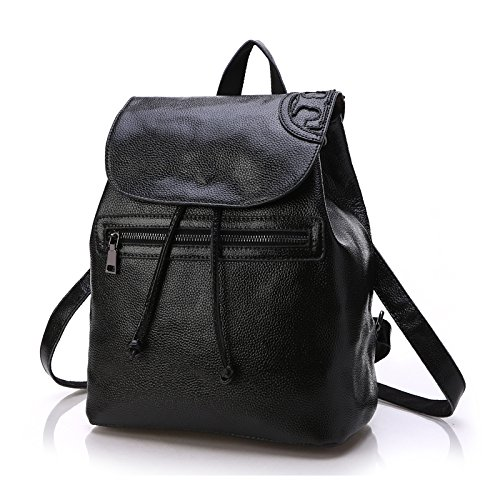 SUXCGE - Bolso mochila  de Piel para mujer Talla Unica negro