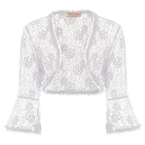 Belle Poque Women's Lace Shrug Jacket Long Sleeve Bridal Cardigan Bolero (White,2XL)