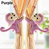 A Pair Baby Kid Toddler Child Infant Children Nursery Room Bedroom Animal Cartoon Plush Monkey Window Curtain Tieback Tie Back Decor Holder Buckle Holdback Belt Hooks Clip Clasps Toy (Purple)