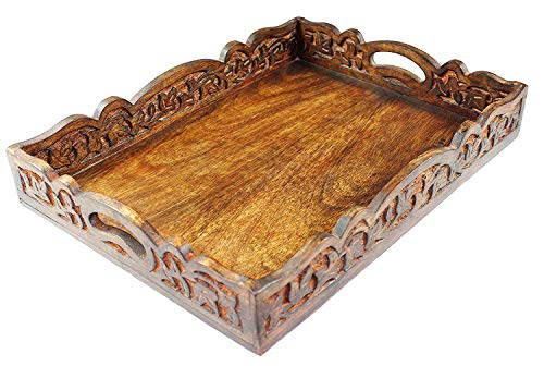 Cotton Craft - Wooden Decorative Serving Tray - Natural finish - Size: 17.5 x 13 x 2.5 Inches - Intricate detail with hand carving creates a truly unique furnishing accent