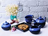 Teaset Ceramic/Stoneware in Blue and Black Studio (Kettle, Sugar & milk container, cups with saucer) (Set of 7 piece) Handmade By Caffeine
